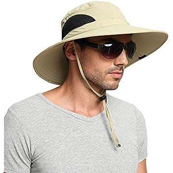 4b0feec20 EINSKEY Wide Brim Sun Hat Summer UV Protection Beach Hat Showerproof Safari  Boonie Hat Foldable Fishing Hat with Adjustable Chin Strap and Breathable  Mesh ...