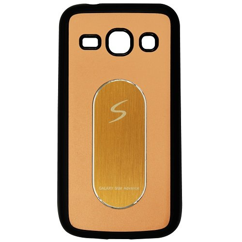 Casotec Metal Back TPU Back Case Cover for Samsung Galaxy Star Advance G350 - Gold  available at amazon for Rs.99