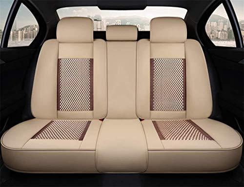 MAKB for Gli Accessori Copertura di sede di BMW E46 E60 E90 Audi A3 A4 B8 Ford Focus Fiat Skoda Rapid Ice Silk Car Leather Car Styling (Size : Beige)