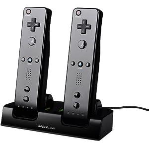 Speedlink Jazz Wii U Ladestation für bis zu zwei Wiimote gleichzeitig (bis zu 18 Stunden Spieldauer, 3 Stunden Ladezeit, Akku-Set inklusive)