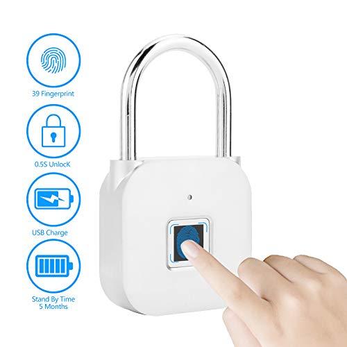 Candado de Seguridad, Pequeño IP55 Impermeable Cerradura de Huella Digital sin Llave Admite hasta 39...