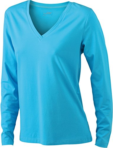 JAMES & NICHOLSON Donna T-shirts a manica lunga da jersey elastico morbido Turquoise