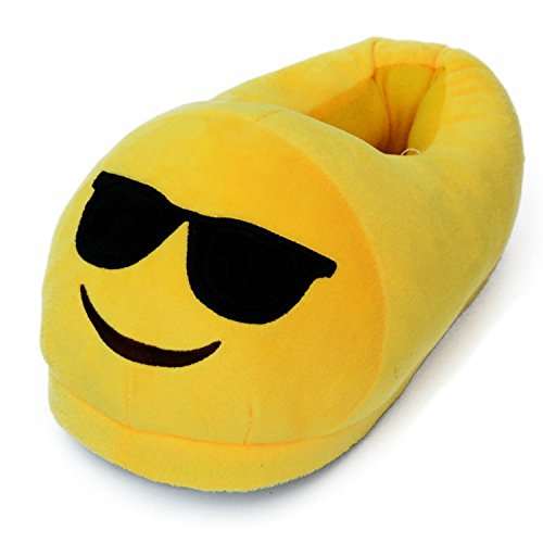 Dreampartydress Cool Sonnenbrille Smiley, Emoji-Größe 3-5Valentines Neuheit Plüsch Hausschuhe Jungen Mädchen Damen Herren Comfy