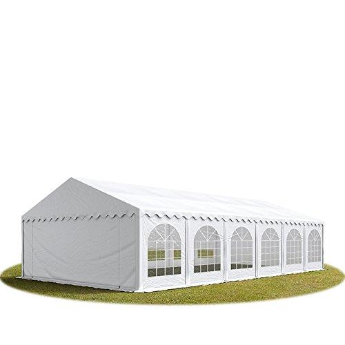 TOOLPORT Tente Barnum de Réception 6x14 m Premium Bâches Amovibles PVC 500 g/m² Blanc + Cadre de Sol Jardin INTENT24