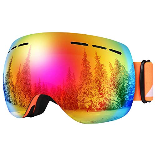 Bfull Skibrille Für Damen und Herren Kids Brillenträger Skibrille 100% OTG UV400 Anti-Fog UV-Schutz Skibrillen Snowboard Skibrille Schutz Ski Goggles (Gray-revo red Lens VLT 8.5%)