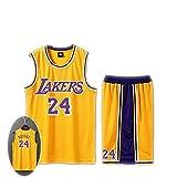 SHUIHU T-Shirt da basket uomo e unisex - Los Angeles Lakers Kobe Bryant 24th Jersey # - Set senza maniche classico