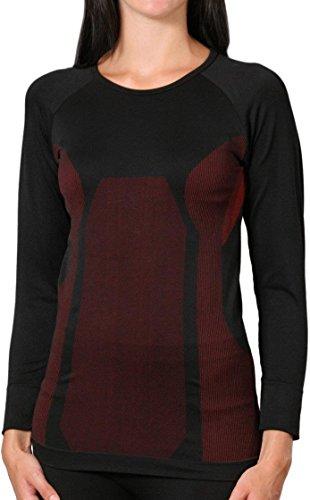 Seamless Unterwäsche Skiunterwäsche Langarm Farbe Damenhemd Schwarz/Rot Größe S/M
