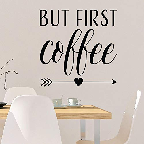 WSLIUXU Aber Erste Kaffee Wand Wort Cafe Wandaufkleber Vinyl Schriftzug Zitat Kaffee Wandtattoo Abnehmbare Zimmer Hausgarten Wandaufkleber Zustand Grau 56X56 cm -