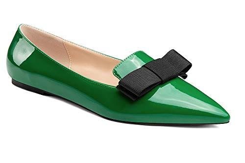 Soireelady Damen Comfort Flats Schuhe Pumps, Spitzen Flach Zehen Wohnungen mit Niedrigem Absatz, Slip On Low Heel Schuhe Bow Sandalen Bow Heels