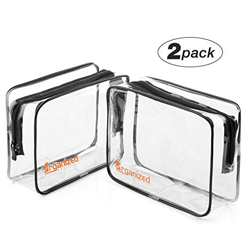 Airport Security Liquids Bags - 2 Clear Travel Toiletries Bags from Organized Explorers Make Airline Hand Luggage Checks Quick and Easy