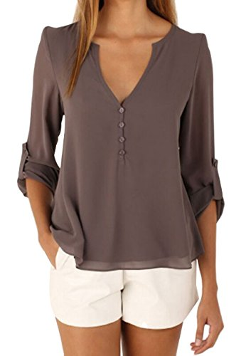 OMZIN Womens Long T Shirt für Frauen, Oberteile Button Slim Tunika Shirts Braun XS