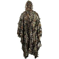 HYFAN Ghillie Suit Poncho 3D Feuilles Camouflage Cape Cape pour Les Militaires, CS, Chasse à la Jungle, Paintball, Airsoft, Photographie de la Faune, Halloween (Taille Gratuite)