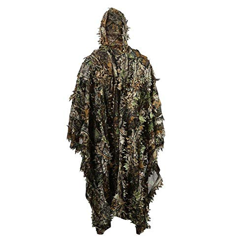 (HYFAN Ghillie Suit Poncho Outdoor 3D Blätter Camouflage Camo Cape Umhang für Militär, CS, Dschungeljagd, Paintball, Airsoft, Wildlife-Fotografie, Halloween (Freie Größe))