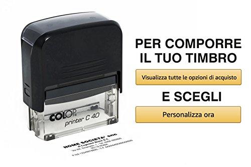 Timbro Personalizzato Autoinchiostrante 6 Righe Scegli e Componi Online il Testo Colop Printer C 40 Ufficio Scuola Lavoro