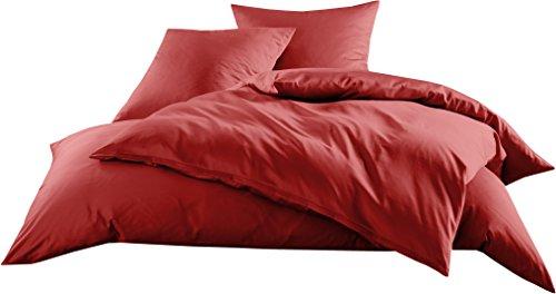 Mako-Satin Baumwollsatin Bettwäsche Uni einfarbig zum Kombinieren (Bettbezug 240 cm x 220 cm, Rot) - Rot Bettbezug