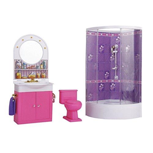 VORCOOL Arredamento Barbie Mobili Miniatura Bagno con Doccia WC Lavabo Specchio - 1 Pezzo