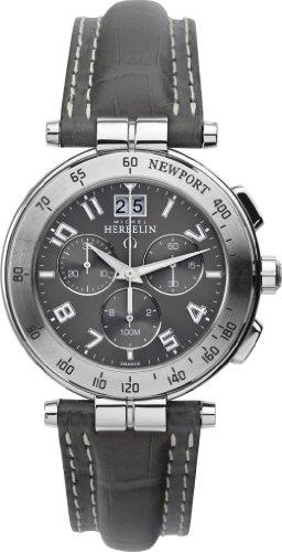 Michel Herbelin Herren-Armbanduhr Newport Chronograph leder grau 36657/22GR