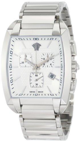 Versace WLC99D002 S099 Montre chronographe pour homme Tonneau avec bracelet en acier