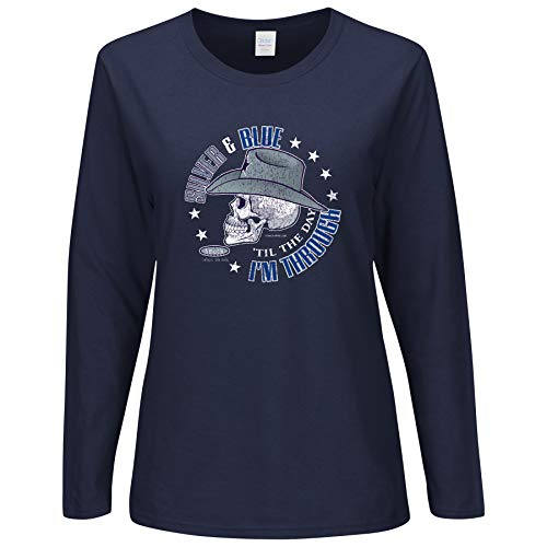 Smack Apparel Dallas Fußball Fans. Silber und Blau bis der Tag Ich Bin durch Damen Lange Ärmel T-Shirt (sm-5X), Unisex-Erwachsene Herren Damen, Navy, XX-Large - Langen Ärmeln Navy Blau Shirt