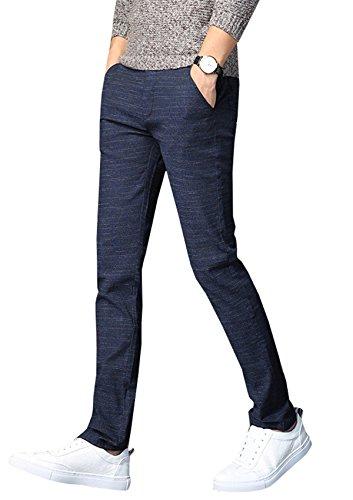 YPtong Pantaloni Elegante da Uomo Chino Slim Fit Ragazzo Pants Business Pantalone Skinny Stretti Casual Blu