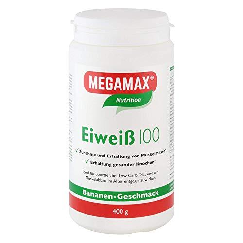 Megamax Eiweiss Banane 400 g | Molkenprotein + Milcheiweiß Für Muskelaufbau ,Diaet | 2k-Eiweiss ideal zum Backen | hochwertiges Low Carb Eiweiß-Shake | aspartamfrei Eiweiss-pulver mit Aminosäure -