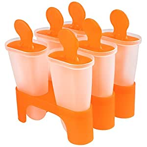 Soledi 6 Cell Set Pop Ice Mold Maker Lolly Jelly Mould Bar Tray Ice Cream Kitchen Tool Random Colour