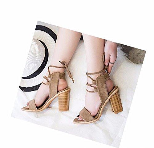 Minetom Femmes Fille D'été Élégant Peep Toe Sandales Respirant Sabots Chaussures À Lacets À Talons À Talons Escarpins Marron Clair