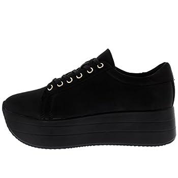 Cosmo Womens Wedge Heel Festival Fashion Platform Summer Casual Chic Trainers - Blackblack - Uk3eu36 - Bf0036 1