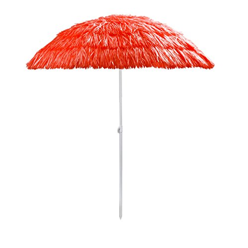 Multistore_2002 Hawaii Sonnenschirm Strandschirm Bast-Look Ø160x180cm, Farbe:Rot