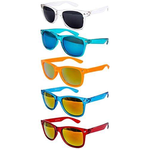 5 er Set EL-Sunprotect Sonnenbrille Nerdbrille Brille Nerd Transparent Bunt Set7