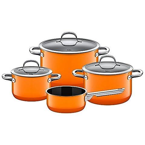 Silit Topf-Set 4-teilig Fleischtopf Stielkasserolle Passion Orange Schüttrand Made in Germany Hohlgriffe Glasdeckel Silargan Funktionskeramik induktionsgeeignet spülmaschinengeeignet