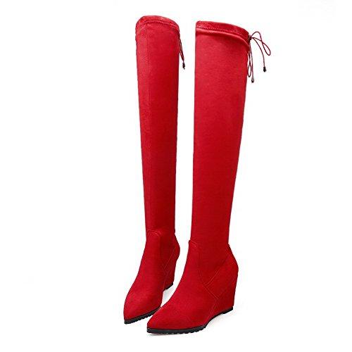 VogueZone009 Donna Scarpe A Punta Alta Altezza Tacco Alto Puro Stivali con Nodo Rosso