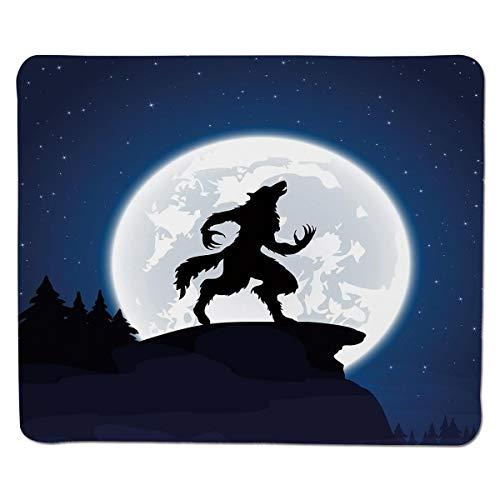 (Mauspad Wolf, Vollmond-nächtlicher Himmel, der Werewolf-mythisches Geschöpf im Holz Halloweens, Dunkelblaue Schwarz-Weiß genäht Rand knurrt)