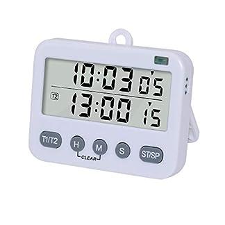 Temporizadores Cocina Digital Duales Reloj Despertador Doble Temporizador de Memoria con Cuenta Atrás Electrónico Cronómetro Pantalla LCD Soporte Extraíble, Blanco
