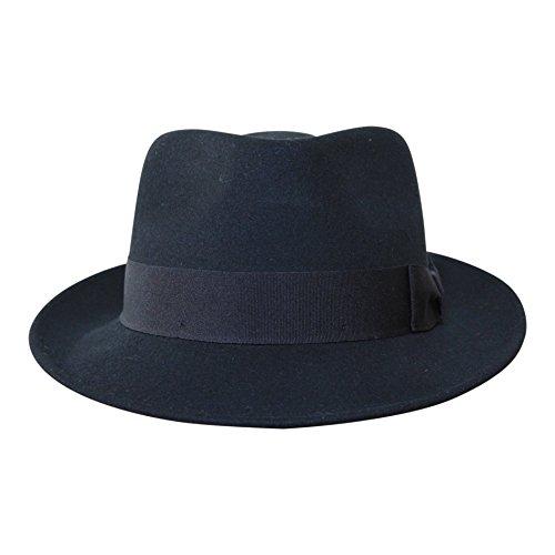 B&S Premium Doyle - Teardrop Fedora Hut - 100 % Wollfilz - perfekt zum Reisen - was-serabweisend - Unisex - 58cm Schwarz (Mann Getragen In Box Kostüm)
