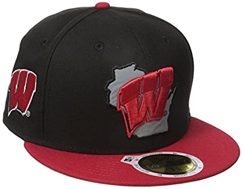 NCAA Wisconsin Badgers State Flective Redux 59FIFTY Fitted Cap, 7.25, Black