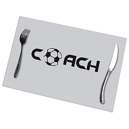 Dimension Art Coach Football Soccer Placemats Set of 6 for Dining Table Washable Polyester Placemat Non-Slip Wear and Heat Resistant Kitchen Table Mats Easy to Clean