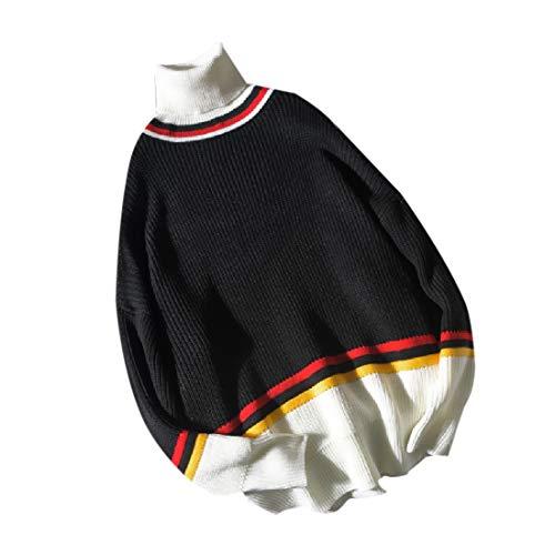 EnergyMen Turtleneck Color Block Stripe Jumper Pullover Knit Sweater Tops Black S (Wrap Sweater Top Knit)