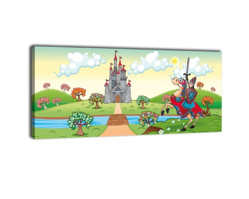Leinwandbild Panorama Nr. 262 Tapferer Ritter 100x40cm, Keilrahmenbild, Bild auf Leinwand, Kinder Märchen Mittelalter