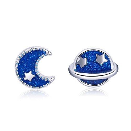 GDDX - Orecchini a perno a forma di stella asimmetrica, in argento Sterling, con terra e luna blu e 925, colore: Blue, cod. GDDE004