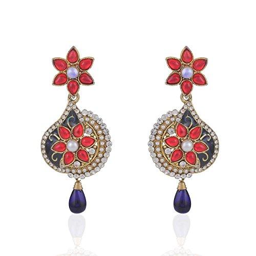 Variation Maroon Beads & Blue Meenakari Party Wear Earring For Women -...
