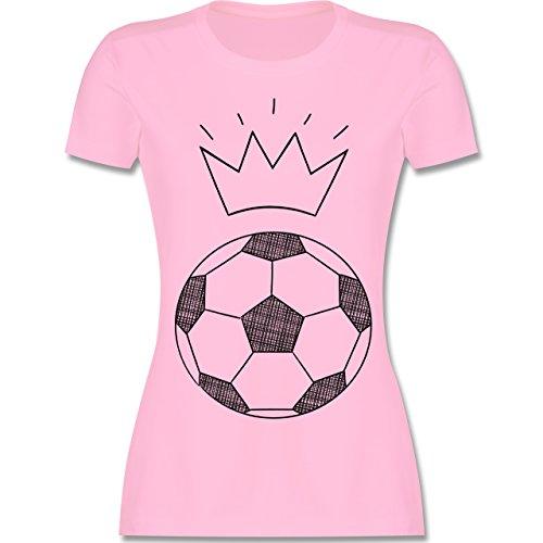 Fußball - Fußball Skizze mit Krone - tailliertes Premium T-Shirt mit Rundhalsausschnitt für Damen Rosa