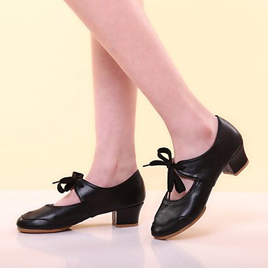 Silence @ Chaussures de danse pour femme en cuir Cuir Latin talons Chunky Talon Performance Noir/rouge/fuchsia/autre fuchsia