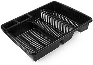 2XDish Drainer Plastic 48 x 39 x 12 cm Large Black