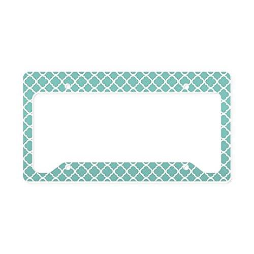 CafePress-Tiffany Blau & Weiß Marokkanische-Aluminium Nummernschild Rahmen, Lizenz Tag Halter