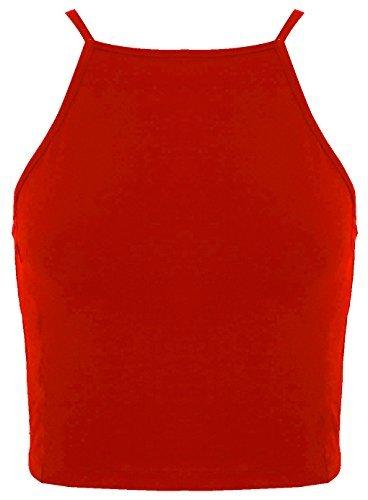 The Celebrity Fashion Nuovo Da Donna Bralet Cami estate cinghia di spaghetti senza maniche collo alto 90S Crop Top Red S/M