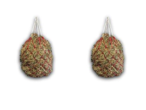 Heunetz für Pferde - Netz für artgerechte Fütterung, verbessert Verdauung & Wohlbefinden der Tiere Heu Gras Futter Stroh Futternetz Heusack (2x Rot)