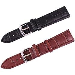 2PC ygdz Leder Uhrenarmband, 20mm echtes Rindsleder Herren Standard Krokodil geprägt schwarz/Kaffee