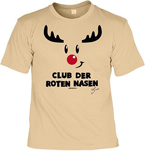 T-Shirt - Rentier Club der roten Nasen Shirt Farbe beige - Weihnachtsshirt als Outfit für die Festtage Beige