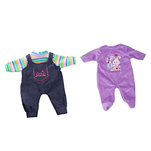 FLAMEER 2 Sets Kleid Puppenkleidung Kleidung Schlafanzug für 18 Zoll American Puppen Doll